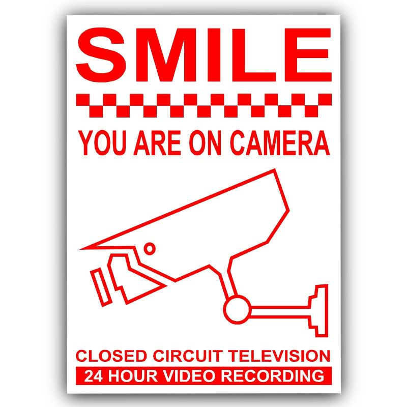 1 x Smile You Are On Camera-Red on White-120mm-Monitoring CCTV Video Recording Camera Security Warning Stickers-Self Adhesive Vinyl Sign